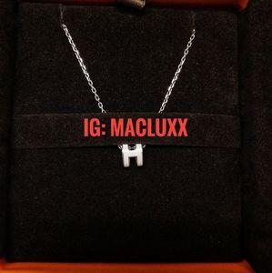 Hermes Pop H mini pendant - white phw